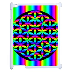 Rainbow Flower Of Life In Black Circle Apple Ipad 2 Case (white) by Nexatart