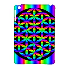 Rainbow Flower Of Life In Black Circle Apple Ipad Mini Hardshell Case (compatible With Smart Cover) by Nexatart