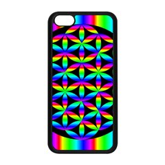 Rainbow Flower Of Life In Black Circle Apple Iphone 5c Seamless Case (black) by Nexatart