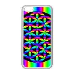 Rainbow Flower Of Life In Black Circle Apple Iphone 5c Seamless Case (white) by Nexatart