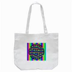 Rainbow Flower Of Life In Black Circle Tote Bag (white) by Nexatart