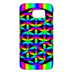 Rainbow Flower Of Life In Black Circle Galaxy S6 by Nexatart