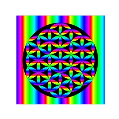 Rainbow Flower Of Life In Black Circle Small Satin Scarf (square) by Nexatart