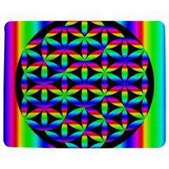 Rainbow Flower Of Life In Black Circle Jigsaw Puzzle Photo Stand (rectangular) by Nexatart