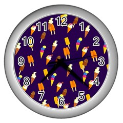 Seamless Ice Cream Pattern Wall Clocks (silver)  by Nexatart
