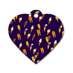 Seamless Ice Cream Pattern Dog Tag Heart (two Sides) by Nexatart