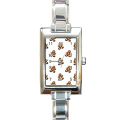 Gingerbread Seamless Pattern Rectangle Italian Charm Watch by Nexatart