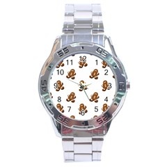 Gingerbread Seamless Pattern Stainless Steel Analogue Watch by Nexatart