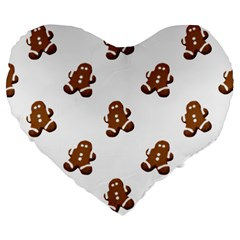Gingerbread Seamless Pattern Large 19  Premium Heart Shape Cushions by Nexatart