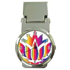 Rainbow Lotus Flower Silhouette Money Clip Watches by Nexatart