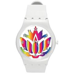 Rainbow Lotus Flower Silhouette Round Plastic Sport Watch (m) by Nexatart