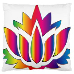 Rainbow Lotus Flower Silhouette Large Flano Cushion Case (two Sides) by Nexatart