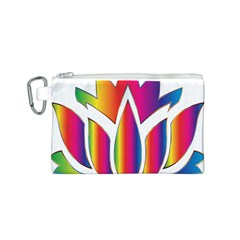 Rainbow Lotus Flower Silhouette Canvas Cosmetic Bag (s) by Nexatart