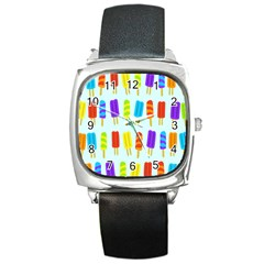 Popsicle Pattern Square Metal Watch by Nexatart