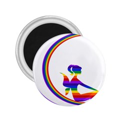 Rainbow Fairy Relaxing On The Rainbow Crescent Moon 2 25  Magnets by Nexatart