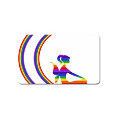Rainbow Fairy Relaxing On The Rainbow Crescent Moon Magnet (name Card) by Nexatart