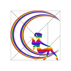 Rainbow Fairy Relaxing On The Rainbow Crescent Moon Acrylic Tangram Puzzle (4  x 4 ) by Nexatart