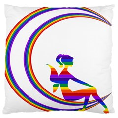 Rainbow Fairy Relaxing On The Rainbow Crescent Moon Large Flano Cushion Case (two Sides) by Nexatart