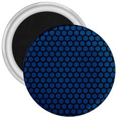 Blue Dark Navy Cobalt Royal Tardis Honeycomb Hexagon 3  Magnets by Mariart