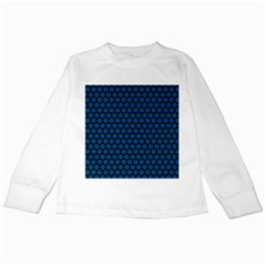 Blue Dark Navy Cobalt Royal Tardis Honeycomb Hexagon Kids Long Sleeve T Shirts by Mariart