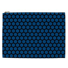 Blue Dark Navy Cobalt Royal Tardis Honeycomb Hexagon Cosmetic Bag (xxl)  by Mariart