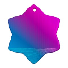 With Wireframe Terrain Modeling Fabric Wave Chevron Waves Pink Blue Ornament (snowflake) by Mariart