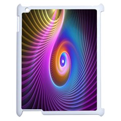 Abstract Fractal Bright Hole Wave Chevron Gold Purple Blue Green Apple Ipad 2 Case (white) by Mariart