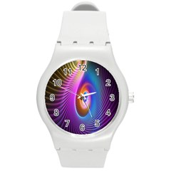 Abstract Fractal Bright Hole Wave Chevron Gold Purple Blue Green Round Plastic Sport Watch (m) by Mariart