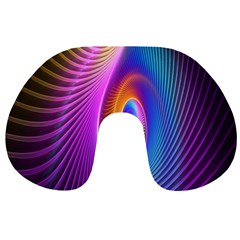 Abstract Fractal Bright Hole Wave Chevron Gold Purple Blue Green Travel Neck Pillows by Mariart