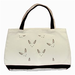 Bunny Line Rabbit Face Animals White Pink Basic Tote Bag by Mariart