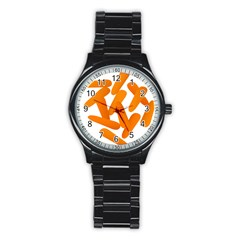 Carrot Vegetables Orange Stainless Steel Round Watch by Mariart