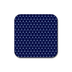 Blue White Anchor Rubber Square Coaster (4 Pack)  by Mariart