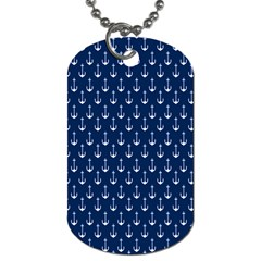 Blue White Anchor Dog Tag (two Sides) by Mariart