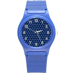 Blue White Anchor Round Plastic Sport Watch (s) by Mariart