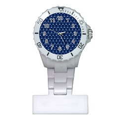 Blue White Anchor Plastic Nurses Watch by Mariart