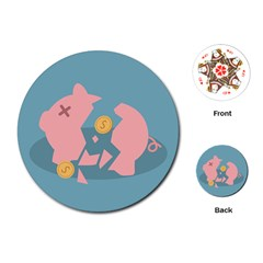 Coins Pink Coins Piggy Bank Dollars Money Tubes Playing Cards (round)  by Mariart