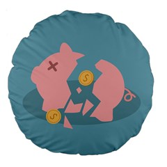 Coins Pink Coins Piggy Bank Dollars Money Tubes Large 18  Premium Flano Round Cushions by Mariart