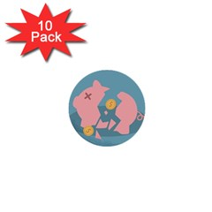 Coins Pink Coins Piggy Bank Dollars Money Tubes 1  Mini Buttons (10 Pack)  by Mariart