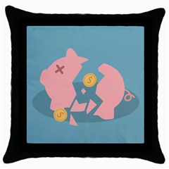 Coins Pink Coins Piggy Bank Dollars Money Tubes Throw Pillow Case (black) by Mariart