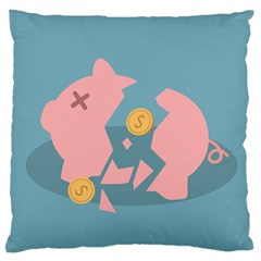 Coins Pink Coins Piggy Bank Dollars Money Tubes Large Cushion Case (one Side) by Mariart