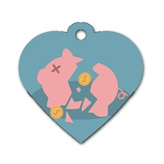 Coins Pink Coins Piggy Bank Dollars Money Tubes Dog Tag Heart (two Sides) by Mariart