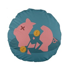 Coins Pink Coins Piggy Bank Dollars Money Tubes Standard 15  Premium Round Cushions by Mariart