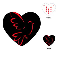 Dove Red Black Fly Animals Bird Playing Cards (heart)  by Mariart