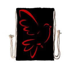 Dove Red Black Fly Animals Bird Drawstring Bag (small) by Mariart