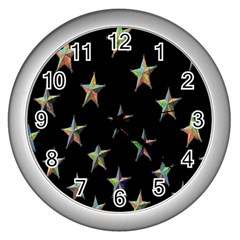 Colorful Gold Star Christmas Wall Clocks (silver)  by Mariart