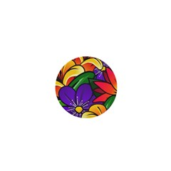 Bright Flowers Floral Sunflower Purple Orange Greeb Red Star 1  Mini Buttons by Mariart