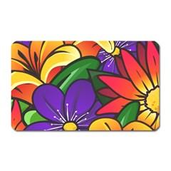 Bright Flowers Floral Sunflower Purple Orange Greeb Red Star Magnet (rectangular) by Mariart