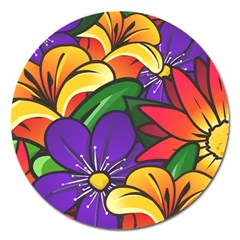 Bright Flowers Floral Sunflower Purple Orange Greeb Red Star Magnet 5  (round) by Mariart