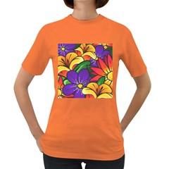 Bright Flowers Floral Sunflower Purple Orange Greeb Red Star Women s Dark T Shirt by Mariart