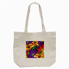 Bright Flowers Floral Sunflower Purple Orange Greeb Red Star Tote Bag (cream) by Mariart